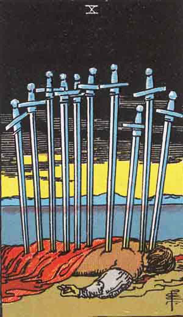 The Ten of Swords tarot card