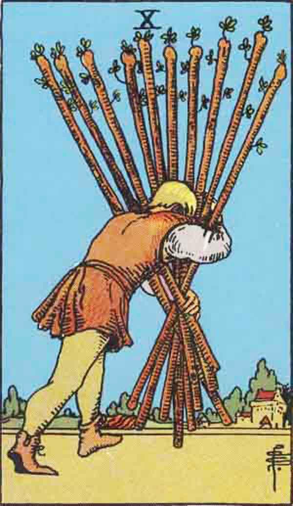The Ten of Wands tarot card