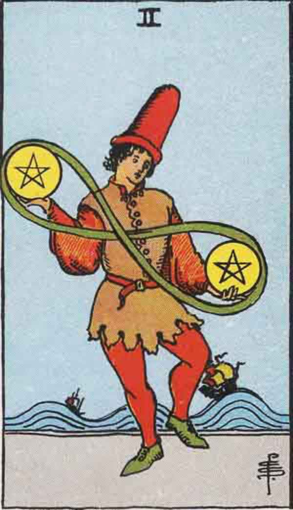 The Two of Pentacles tarot card