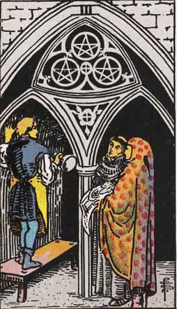 The Three of Pentacles tarot card