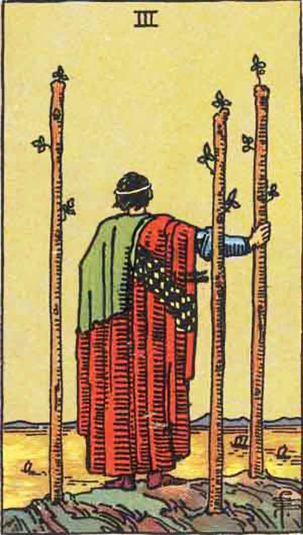 The Three of Wands tarot card