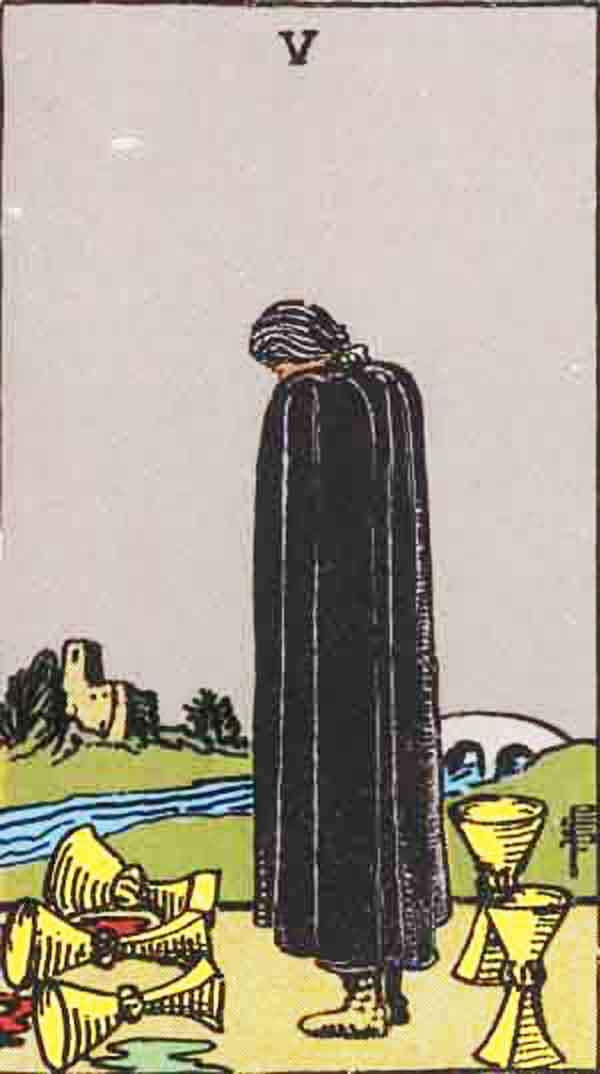 The Five of Cups tarot card
