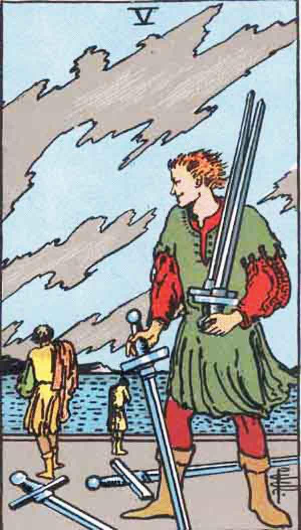 The Five of Swords tarot card