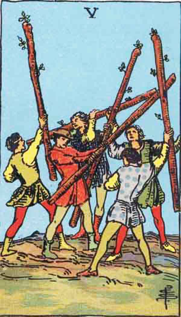 The Five of Wands tarot card