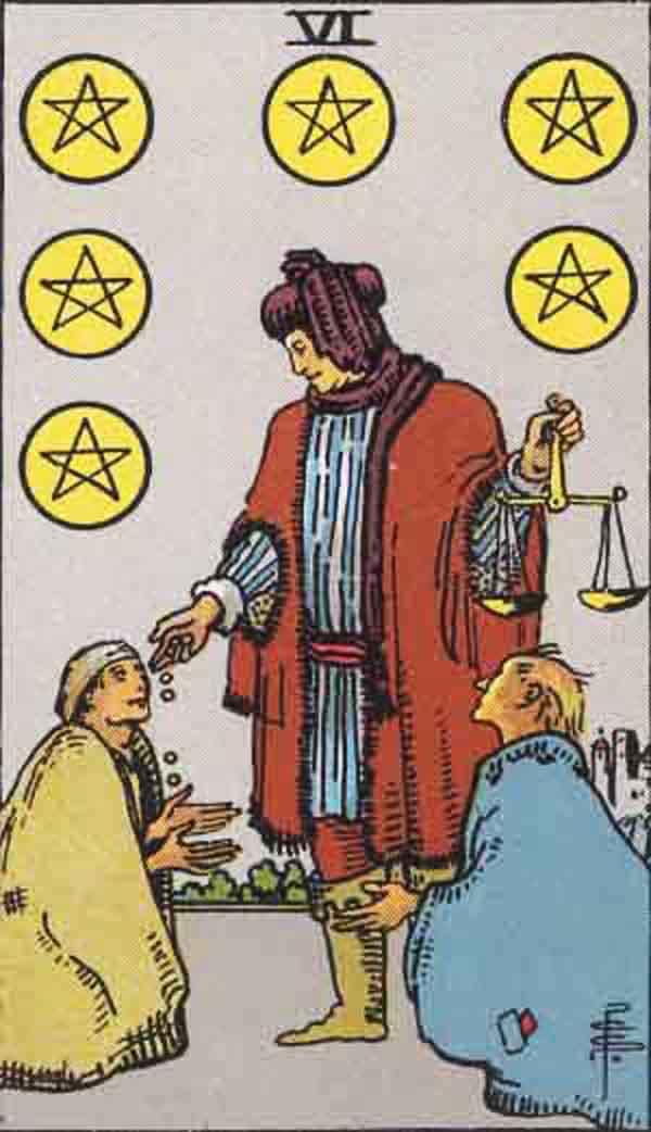 The Six of Pentacles tarot card