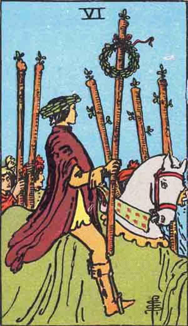 The Six of Wands tarot card