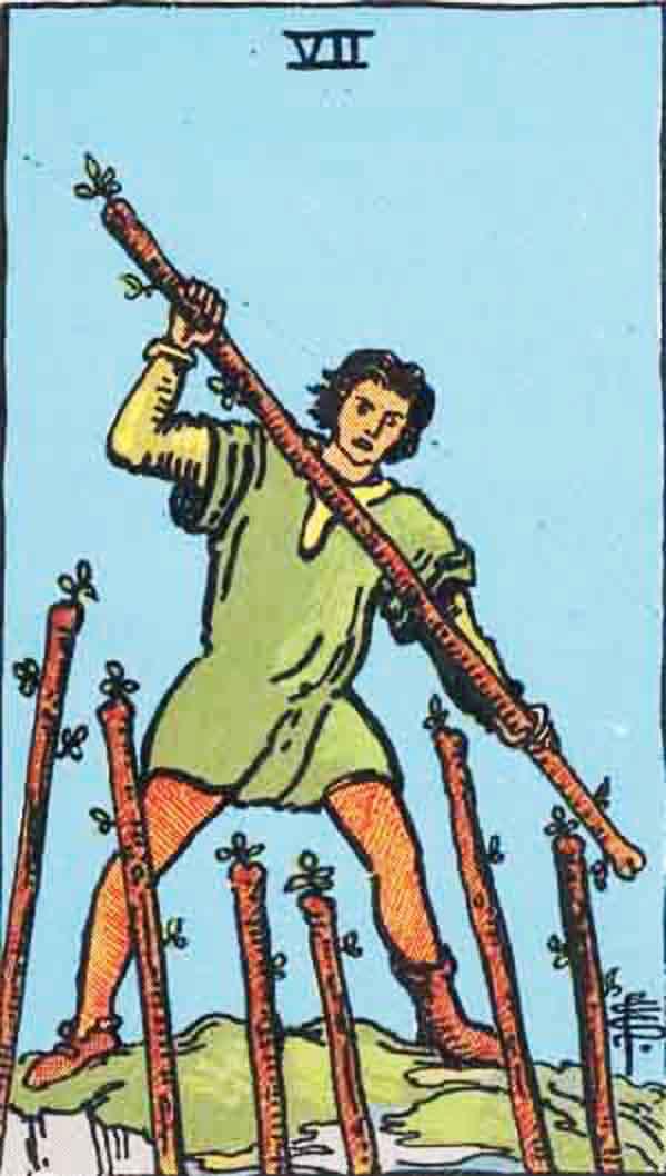 The Seven of Wands tarot card