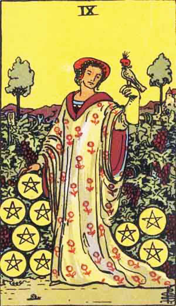 The Nine of Pentacles tarot card