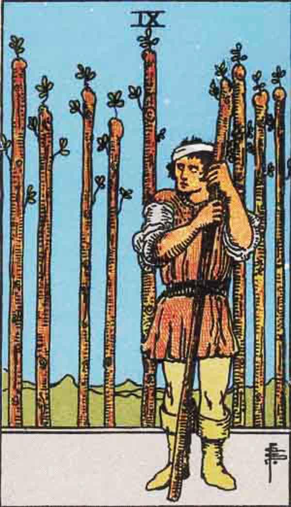 The Nine of Wands tarot card