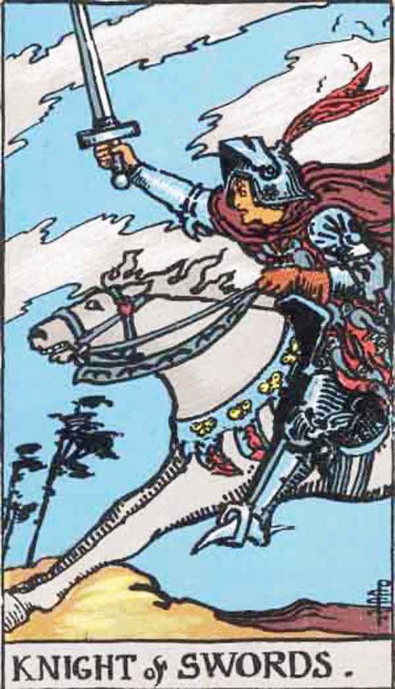 The Knight of Swords tarot card
